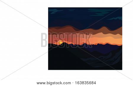 The mountains evening glow vector landscape illustration