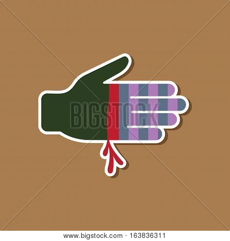 paper sticker on stylish background of bloody hand