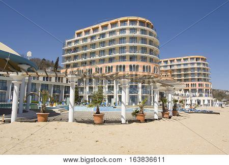 SAINT CONSTANTINE AND HELEN BULGARIA - APRIL 10 2015: hotel Azalia. Saint Constantine and Helen is the oldest first sea resort of Bulgaria exists from 19 century.