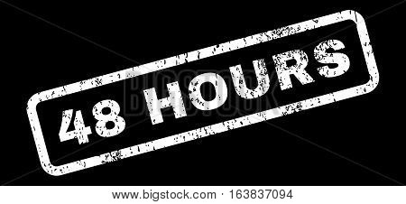 48 Hours Text rubber seal stamp watermark. Tag inside rectangular shape with grunge design and scratched texture. Slanted glyph white ink sticker on a black background.