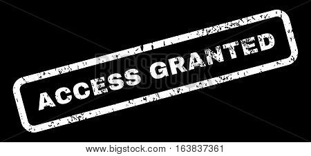 Access Granted Text rubber seal stamp watermark. Tag inside rectangular shape with grunge design and scratched texture. Slanted glyph white ink sign on a black background.