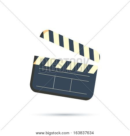 Clapperboard vector icon isolated on white background, flat style clapboard slate filmmaking device, concept of film production symbol, video movie clapper equipment