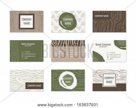 Set of Business Cards for wood company. Collection of templates with woody textures. Business cards for woodwork, furniture manufacture, organic shop. Modern abstract style for identity design. Vector