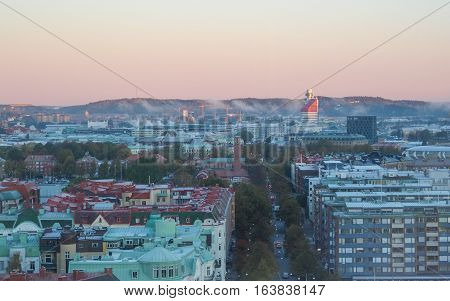 GOTHENBURG - OCTOBER 12, 2012: Early autumn morning in Gothenburg. Gothenburg is the second largest city in Sweden.