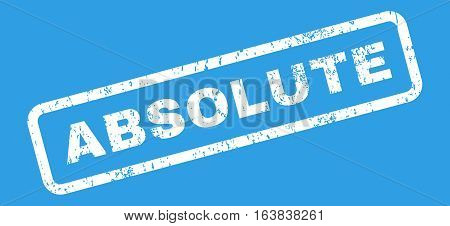 Absolute Text rubber seal stamp watermark. Tag inside rectangular banner with grunge design and unclean texture. Slanted glyph white ink sign on a blue background.