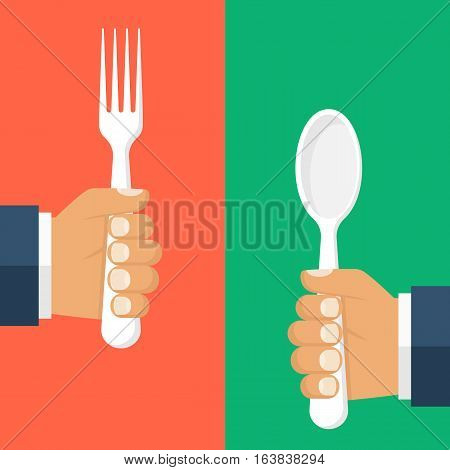 Spoon, fork holding in hand man, isolated on red green background. Vector illustration flat design. Template for web and print design.