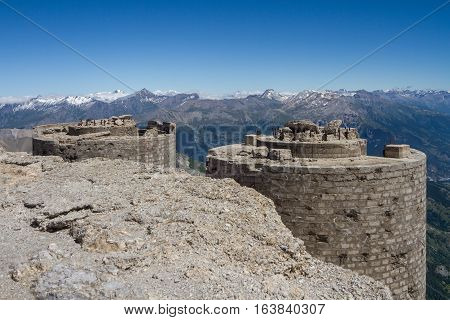 Ruined italian artillery turret on top of Mont Chaberton with Alps panorama. France.