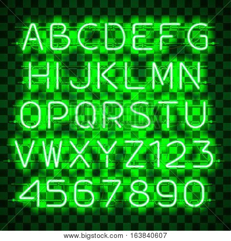 Glowing blue Green Alphabet with letters from A to Z and digits from 0 to 9 on transparent background. Glowing neon effect. Every letter is separate unit with wires, tubes, brackets and holders.