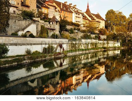 Bremgarten canton Aargau Switzerland - Reuss riverfront and typical houses