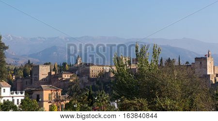 Alhambra Granada, Spain. Sierra Nevada mountains at the background, panoramic views from a viewpoint