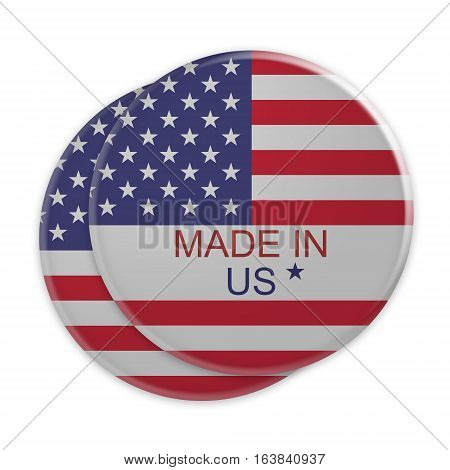 Made In US: USA Flag Buttons 3d illustration on white background