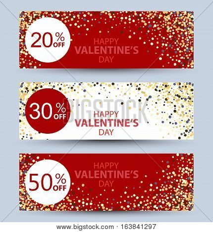 Valentine's day collection sale banners White and red banners with Golden glitter