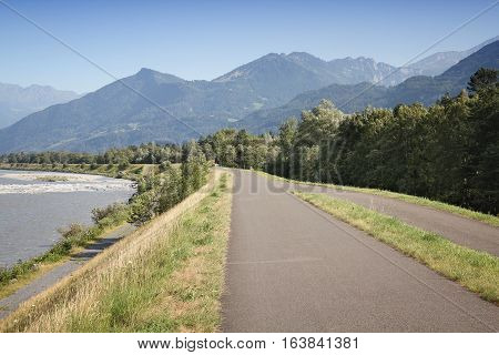 Bicycle Path In Switzerland