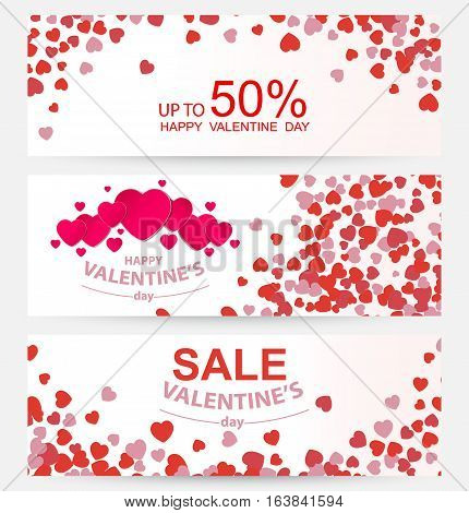 Sale header or banner set with discount offer for Happy Valentine's Day celebration eps10