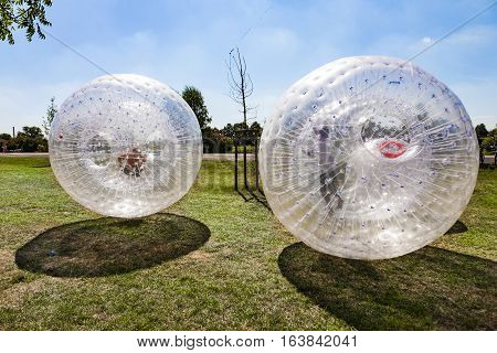 children have a lot of fun in the Zorbing Ball