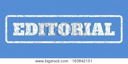 White rubber seal stamp with Editorial text. Vector tag inside rounded rectangular banner. Grunge design and dust texture for watermark labels. Horisontal sign on a blue background.
