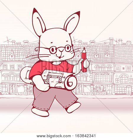 Hand-drawn illustration of funny cartoon Bunny-architect with draft and pencil. Vector