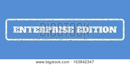 White rubber seal stamp with Enterprise Edition text. Vector message inside rounded rectangular shape. Grunge design and dust texture for watermark labels. Horisontal sticker on a blue background.