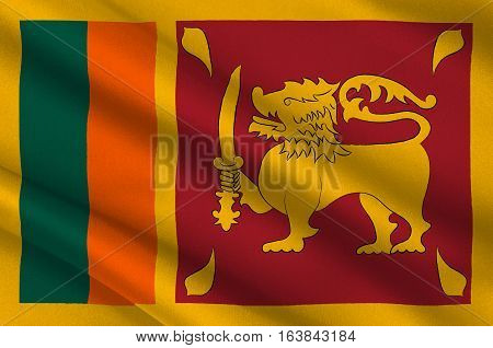 Flag of Sri Lanka officially the Democratic Socialist Republic of Sri Lanka is an island country in South Asia near south-east India. 3d illustration