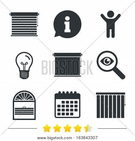 Louvers icons. Plisse, rolls, vertical and horizontal. Window blinds or jalousie symbols. Information, light bulb and calendar icons. Investigate magnifier. Vector