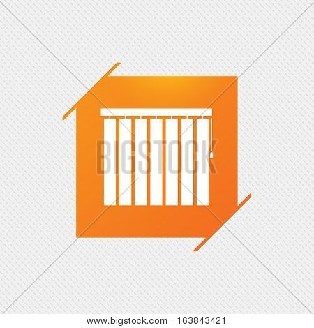 Louvers vertical sign icon. Window blinds or jalousie symbol. Orange square label on pattern. Vector