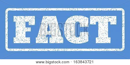 White rubber seal stamp with Fact text. Vector message inside rounded rectangular banner. Grunge design and unclean texture for watermark labels. Horisontal sign on a blue background.