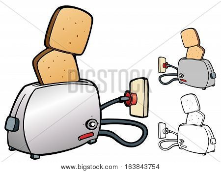 Cheerful design of toast popping out of a toaster. Comes with non-gradient and black outline versions.