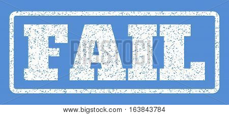 White rubber seal stamp with Fail text. Vector caption inside rounded rectangular frame. Grunge design and scratched texture for watermark labels. Horisontal sign on a blue background.