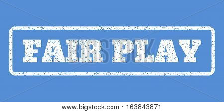 White rubber seal stamp with Fair Play text. Vector message inside rounded rectangular shape. Grunge design and dirty texture for watermark labels. Horisontal sticker on a blue background.