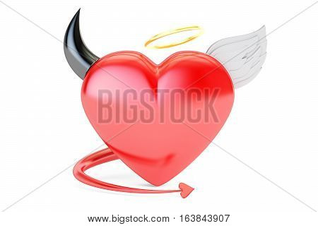 Angel and Devil Heart 2 in 1 3D rendering isolated on white background