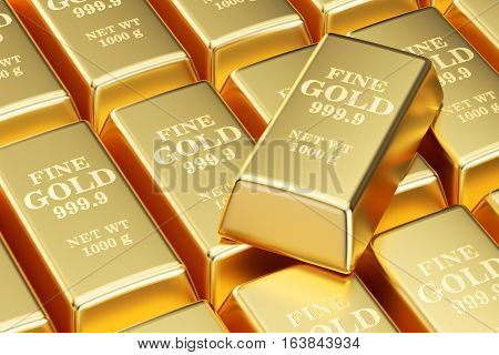 set of golden bars background 3D rendering