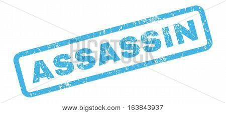 Assassin text rubber seal stamp watermark. Caption inside rectangular shape with grunge design and dirty texture. Slanted glyph blue ink sign on a white background.