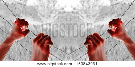 Artistic blood tortured hands grasping desperately barbed wire (infrared)