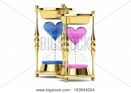 hourglasses with hearts 3D rendering isolated on white background
