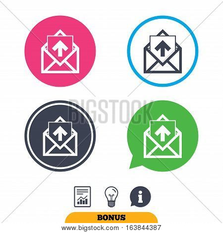 Mail icon. Envelope symbol. Outgoing message sign. Mail navigation button. Report document, information sign and light bulb icons. Vector