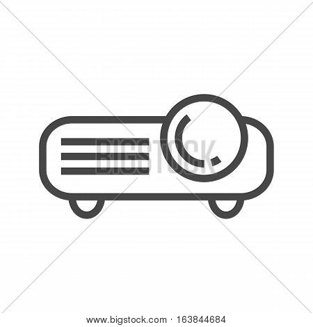 Video Projector Thin Line Vector Icon Isolated on the White Background.