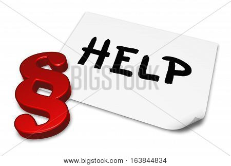 the word help on paper sheet and paragraph symbol - 3d rendering
