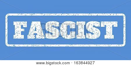 White rubber seal stamp with Fascist text. Vector caption inside rounded rectangular banner. Grunge design and dirty texture for watermark labels. Horisontal emblem on a blue background.