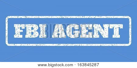 White rubber seal stamp with FBI Agent text. Vector message inside rounded rectangular shape. Grunge design and scratched texture for watermark labels. Horisontal emblem on a blue background.