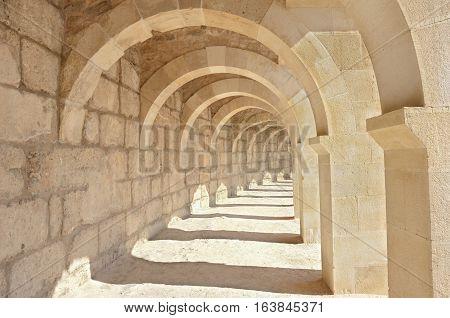 Arcades inside the Aspendos theatre, near Antalya, Turkey