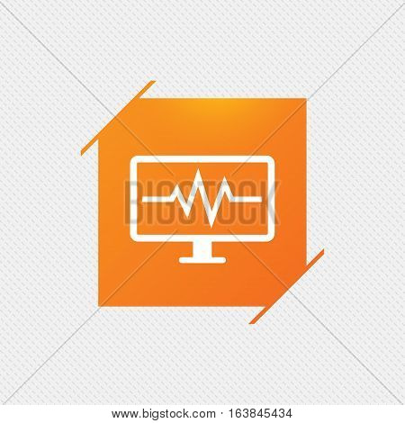 Cardiogram monitoring sign icon. Heart beats symbol. Orange square label on pattern. Vector