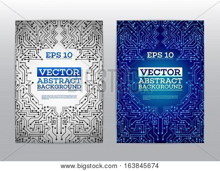 Abstract technology brochure. Technology scheme book cover layout. Digital corporate business template design of flyer. High tech circuit board of report brochure. Vector illustration eps 10