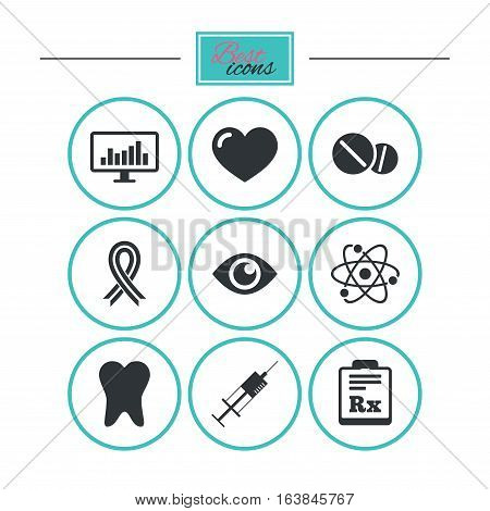 Medicine, medical health and diagnosis icons. Syringe injection, heart and pills signs. Tooth, awareness ribbon symbols. Round flat buttons with icons. Vector