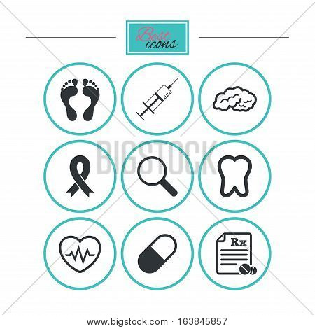 Medicine, medical health and diagnosis icons. Syringe injection, heartbeat and pills signs. Tooth, neurology symbols. Round flat buttons with icons. Vector