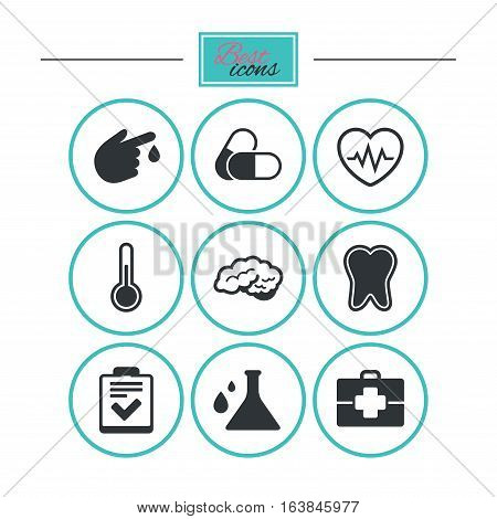 Medicine, healthcare and diagnosis icons. Tooth, pills and doctor case signs. Neurology, blood test symbols. Round flat buttons with icons. Vector