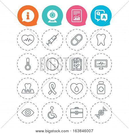 Medicine icons. Syringe, heartbeat and pills symbols. Tooth health, eye and blood donate. Awareness ribbon. Information, question and answer icons. Web camera, report signs. Vector