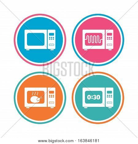 Microwave oven icons. Cook in electric stove symbols. Grill chicken with timer signs. Colored circle buttons. Vector