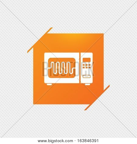 Microwave oven sign icon. Kitchen electric stove symbol. Orange square label on pattern. Vector