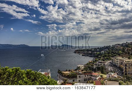 Panoramic view of the city of Napoli (Naples) with the isle of Capri, Campania, southern Italy