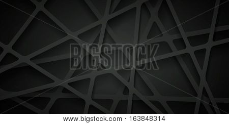 Abstract vector background of lines, black wallpaper, many layers, abstraction composition, futuristic dark pattern